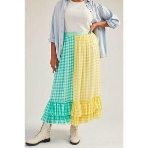 Anthropologie Eva Franco Lynsey Gingham Maxi Skirt